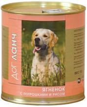 Dog Lunch / Консервы для взрослых собак ДогЛанч Ягненок с потрошками и рисом в Желе
