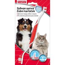 Beaphar Toothbrush / Зубная щетка Беафар для всех пород собак и кошек Двойная