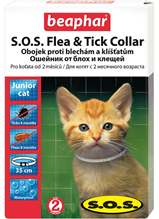 Заказать Beaphar S.O.S. Flea&Tick / Ошейник от Блох (8 мес) и Клещей (4 мес) 35 см для Котят с 2 месяцев по цене 450 руб