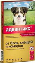 Bayer Адвантикс 250C / Капли на холку от Блох, Клещей и Комаров для собак весом 10-25 кг