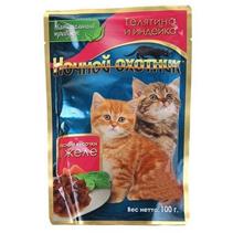 Ночной охотник / Паучи для Котят Телятина и Индейка кусочки в желе (цена за упаковку)