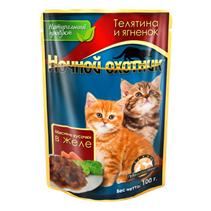 Ночной охотник / Паучи для Котят Телятина и Ягненок в желе (цена за упаковку)