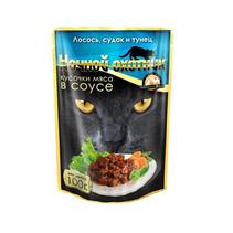 Ночной охотник / Паучи для кошек Лосось Судак Тунец кусочки в соусе (цена за упаковку)