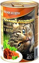 Ночной охотник / Консервы для кошек Мясное ассорти кусочки в желе (цена за упаковку)