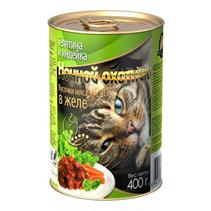 Ночной охотник / Консервы для кошек Телятина Индейка кусочки в желе (цена за упаковку)