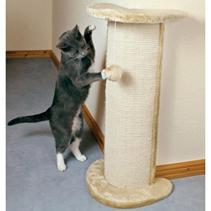 """Trixie / Когтеточка-тумба для кошек Трикси """"Lorca"""" с игрушкой Угловая Бежевая Сизаль/Плюш"""