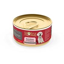 Molina / Консервы Молина для собак Цыпленок с говядиной в желе (цена за упаковку)