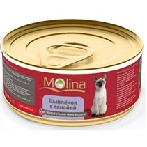 Заказать Molina / Консервы для кошек Цыпленок с папайей в соусе Цена за упаковку по цене 980 руб