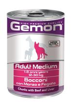 Gemon Adult Medium Chunks Beef & Liver / Консервы Джимон для собак Средних пород кусочки Говядины с печенью (цена за упаковку)