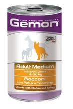 Gemon Adult Medium Chunks Chicken & Turkey / Консервы Джимон для собак Средних пород кусочки Курицы с индейкой (цена за упаковку)