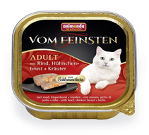 Animonda Vom Feinsten Adult / Консервы Анимонда для кошек с Говядиной, Куриной грудкой и Травами (цена за упаковку)