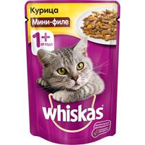 Whiskas Chicken / Паучи для взрослых кошек Мини-филе Курица в желе Цена за упаковку