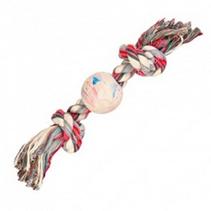 """Trixie / Игрушка Трикси для собак """"Веревка с 2-мя узлами и мячом"""" натуральная резина"""