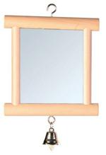 "Trixie / Игрушка Трикси для птиц ""Зеркало с колокольчиком квадратное"" дерево"