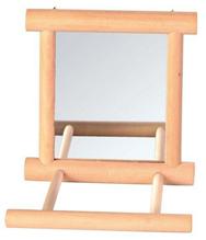 """Trixie / Игрушка Трикси для птиц """"Зеркало с жердочкой квадратное"""" дерево"""