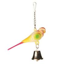 """Trixie / Игрушка Трикси для птиц """"Пластиковый попугай с колокольчиком на цепочке"""""""