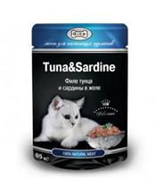 Gina Tuna & Sardine / Паучи Джина для кошек Филе тунца и сардины в желе (цена за упаковку)