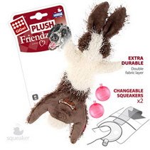 GiGwi Dog Plush Friendz / Игрушка Гигви для собак Заяц с 2-мя пищалками Суперпрочная