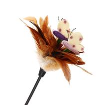 Заказать GiGwi Cat Feather teaser / Игрушка для кошек Дразнилка на стеке с ручкой с перьями и бабочками по цене 320 руб