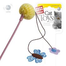 GiGwi Cat Toys / Игрушка Гигви для кошек Дразнилка на стеке с погремушкой бабочкой и текстильным помпоном