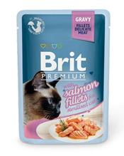 Brit Premium Gravy Sterilised Salmon fillets / Паучи Брит Премиум для Стерилизованных кошек Кусочки из филе Лосося в соусе (цена за упаковку)