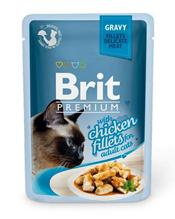 Brit Premium Gravy Chiсken fillets / Паучи Брит Премиум для кошек Кусочки из Куриного филе в соусе (цена за упаковку)