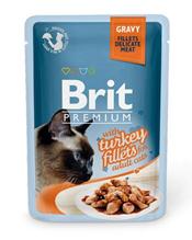Brit Premium Gravy Turkey fillets / Паучи Брит Премиум для кошек Кусочки из филе Индейки в соусе (цена за упаковку)