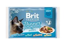 Brit Premium Dinner Plate Gravy / Набор паучей Брит Премиум для кошек Кусочки в соусе (цена за упаковку)