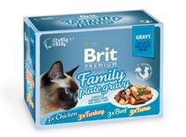 Brit Premium Family Plate Gravy / Набор паучей Брит Премиум для кошек Семейная тарелка кусочки в соусе (цена за упаковку)