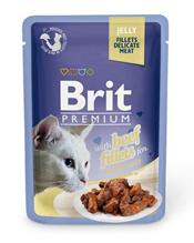 Brit Premium Jelly Beef fillets / Паучи Брит Премиум для кошек Кусочки из филе Говядины в желе (цена за упаковку)