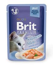 Brit Premium Jelly Salmon fillets / Паучи Брит Премиум для кошек Кусочки из филе Лосося в желе (цена за упаковку)
