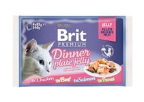 Brit Premium Dinner Plate Jelly / Набор паучей Брит Премиум для кошек Кусочки в желе (цена за упаковку)