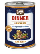 Solid Natura Dinner / Консервы Солид Натура Беззерновые для собак Индейка (цена за упаковку)