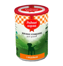 Родные Корма / Консервы Мясное угощение для Щенков с Индейкой (цена за упаковку)