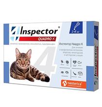 Inspector Quadro К / Капли Инспектор от Внешних и Внутренних паразитов для кошек весом от 1 до 4 кг