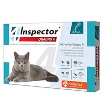 Inspector Quadro К / Капли Инспектор от Внешних и Внутренних паразитов для кошек весом от 4 до 8 кг