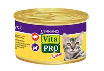 Vita Pro Luxe / Консервы Вита Про для кошек от 1 года Мусс Свинина (цена за упаковку)