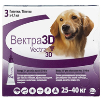 Заказать Vectra 3D / Инсектоакарицидные капли для собак весом 25-40 кг по цене 1540 руб