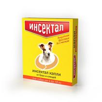 Инсектал / Капли от Блох и Клещей для собак весом 4-10кг