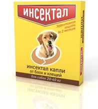Инсектал / Капли от Блох и Клещей для собак весом 20-40кг