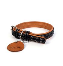 CoLLaR Soft / Ошейник Колар для собак Кожаный Двойной Прошитый Черный верх Коричневый низ