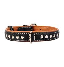 CoLLaR Soft / Ошейник Колар для собак Кожаный Двойной Прошитый с металлическими украшениями Черный верх Коричневый низ