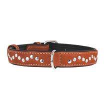 CoLLaR Soft / Ошейник Колар для собак Кожаный Двойной Прошитый с металлическими украшениями Коричневый верх Черный низ
