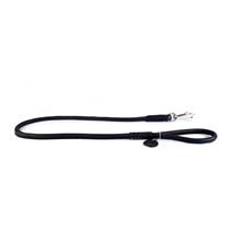 CoLLaR Soft / Поводок-водилка Колар для собак Кожаный Двойной Прошитый круглый без украшений Черный