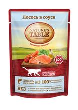 Natures Table / Паучи Нейчерс Тейбл для взрослых кошек Лосось в соусе (цена за упаковку)