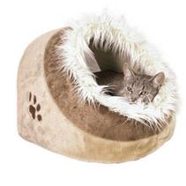 """Trixie / Лежак-пещера для кошек Трикси """"Minou"""" Бежевый/Коричневый с рисунком """"Лапка"""" Плюш"""
