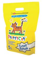 PrettyCat Super White / Наполнитель для кошачьего туалета ПриттиКэт Супер Белый Бентонитовый Комкующийся с ароматом Ванили