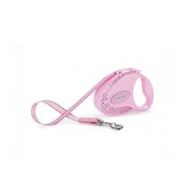 Flexi Glam Composition S / Флекси рулетка с Белыми и Розовыми кристаллами Swarovski для собак весом до 12 кг Лента 3 м