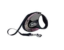 Flexi Glam Composition M / Флекси рулетка с Белыми и Розовыми кристаллами Swarovski для собак весом до 25 кг Лента 5 м