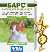 АгроВетЗащита Барс / Капли против блох и клещей для кошек (фипронил, дифлубензурон, дикабоксимид)